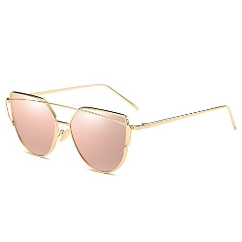 AZORB Fashion Women Cat Eye Sunglasses Metal Frame Mirrored Flat Lens (Amazon Pink Mirrored Lens/Gold Frame, - Stylish Glasses Sun