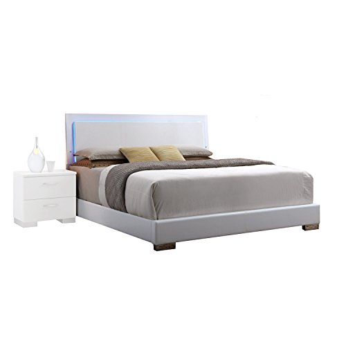 Acme Furniture 22640Q Lorimar Bed HB with LED, Queen, White