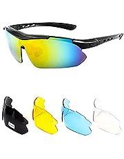 Gepolariseerde fietszonnebril met 5 verwisselbare lenzen Ultralichte pc-lenzen Sportzonnebril voor buitensporten Fietsen hardloopbril