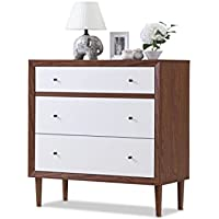 Baxton Furniture Studios Harlow Mid-Century Wood 3 Drawer Chest, Medium, White and Walnut