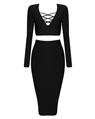 Women Black Party 2 Bodycon Dress Club s Sexy Stretch Skirt Bandage Piece Whoinshop dq71d
