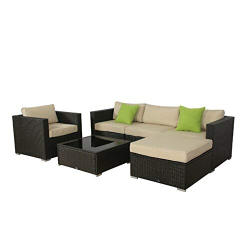 Brayden Studio 6 Piece Deep Seating Rattan Sectional Set with Detachable Lime Green Cushion + Free Basic Design Concepts Expert Guide from Brayden Studio