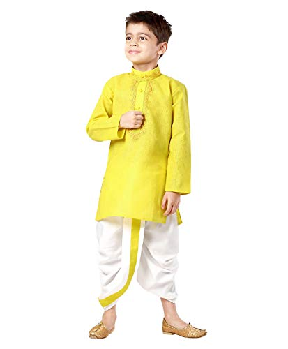 Kurta Dhoti (Kids-Boys-Kurta-Dhoti-Set-Indian-Ethnic-Cultural-Fancy-Party-Dress-Cotton Yellow)