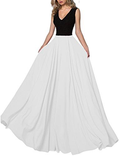 V Neck Long Evening Dress (Black) - 9
