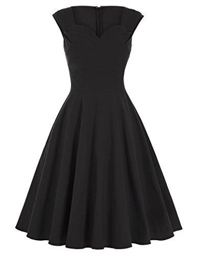 Dress Vestido Sin Mangas Stil 1 Schwarz Mujer GK para Vintage Noche Pxw5p