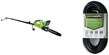 Greenworks 10-Inch 6 Amp Corded Chainsaw & Pole Saw Combo and 50-Foot Indoor & Outdoor Extension Cord