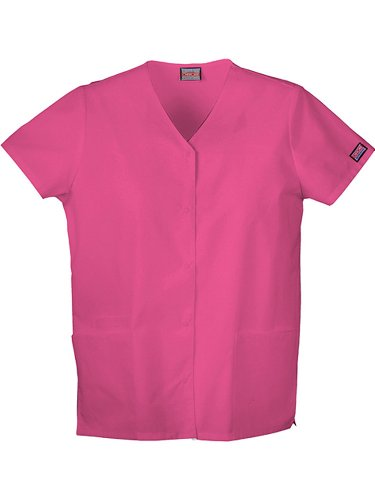 Cherokee Women's Workwear Scrubs Snap Front V-Neck Top, Shocking Pink, Small by Cherokee