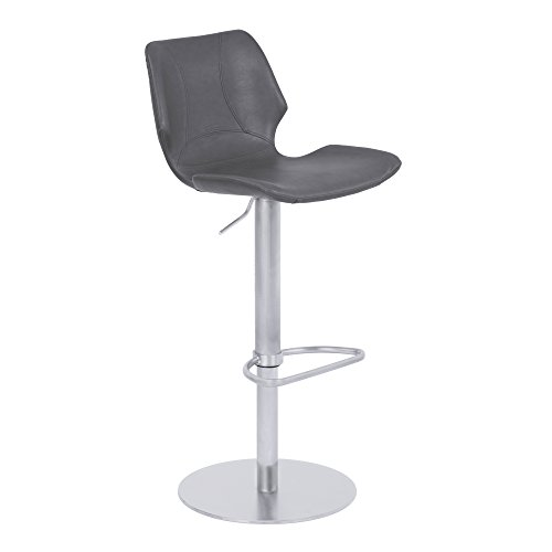 Armen Living LCZUBAVGBS Zuma Adjustable Barstool in Vintage Grey Faux Leather and Brushed Stainless Steel Finish