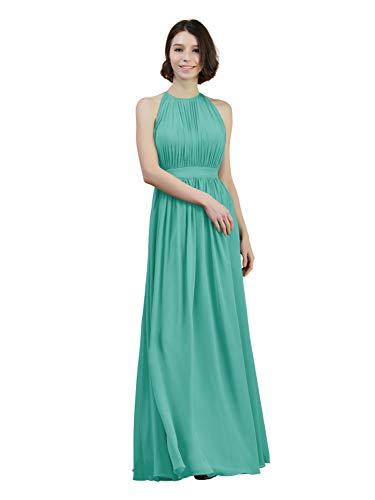 Alicepub Pleated Chiffon Bridesmaid Dress Long Formal Evening Prom Gown for Women, Tiffany, US6
