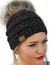 Messy Bun Hat Beanie CC Quality Knit Black Flecked