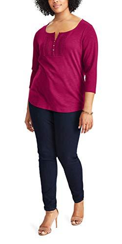 (Chaps Women's Petite Cotton Pintuck Lace Bib Top, Red Garnet (Petite Large))