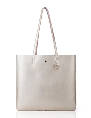 The Lovely Tote Co. Women's Metallic Reversible Top Handle Tote Shoulder Bag Gold