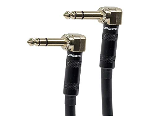 Monoprice Premier Series 1/4 Inch (TRS) Right Angle Male to Right Angle Male 16AWG Cable Cord - 10 Feet- Black (Gold Plated) (Angle Black Right 10)