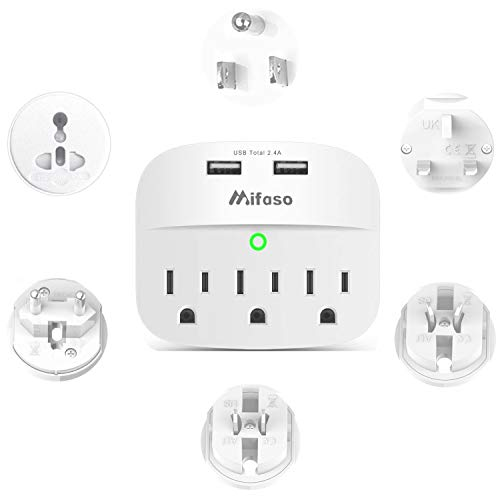 World Travel Adapter Kit, Universal Plug Adapter with 3 Outlet 2 USB