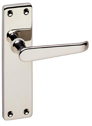 URFIC 90-325-04 LA Victorian Polished Nickel Lever Latch Traditional Door Handle Set -