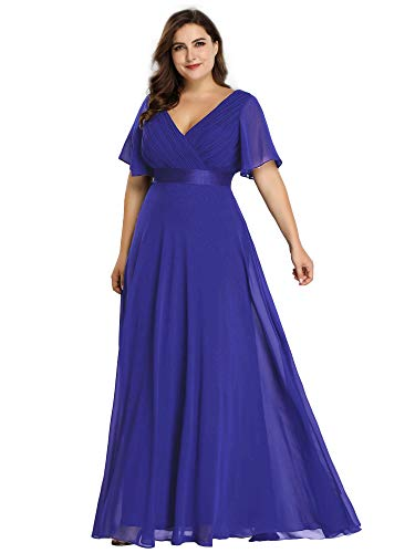 Ever-Pretty Women's Wedding Guest Dresses Formal Dresses Plus Size Royal Blue US20
