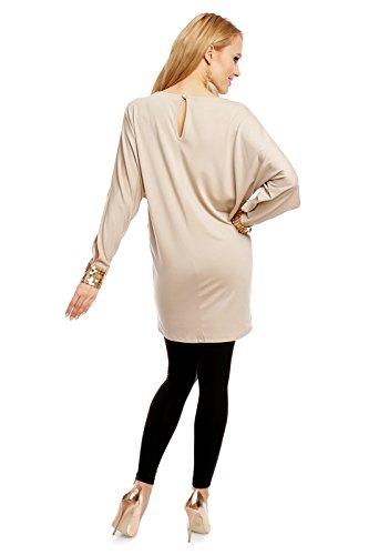 FINERY Damen Longtop, ein Longshirt mit Fledermausärmel und Ziernieten am Ärmelbündchen, Gr. M-XL Beige M/L