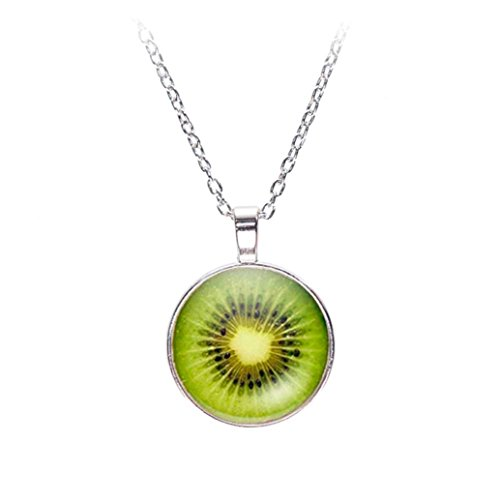 TOPUNDER Fruits Printing Sweater Chain Jewelry Glass Dome Pendant Necklace by (Jade Crucifix Green)