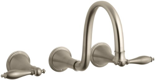 KOHLER K-T343-4M-BV Finial Traditional Wall-Mount Lavatory Faucet with Lever Handles, Vibrant Brushed Bronze (Bronze Undercounter Lavatory)