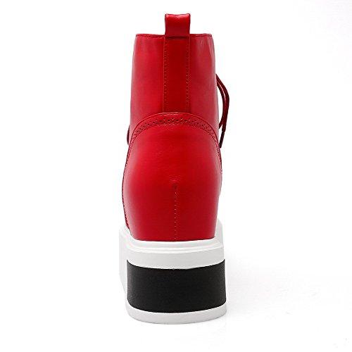 AllhqFashion Damen Niedrig-Spitze Schnüren Weiches Material Wedges Rund Zehe Stiefel Rot