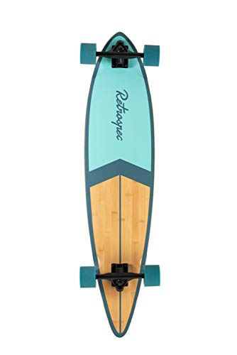 Retrospec Zed Longboard Pintail Bamboo Long Board Skateboard Cruiser Bondi Blue, One Size