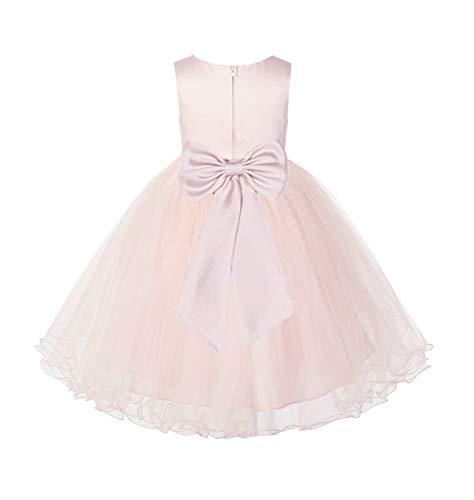 Blush Pink Tulle Rattail Edge Junior Flower Girl Dress Christening Dress 829T 4 -