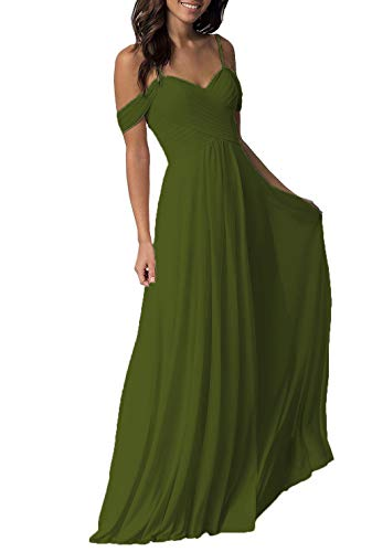 Olive Green Wedding Bridesmaid Dresses Long Cold Shoulder Chiffon Formal Party Dress for Women