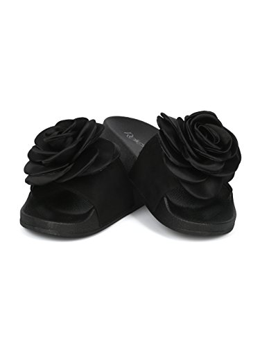 Mix Media Rose Toe Mixed Refresh Footbed Media 3D Collection Slide Women HG32 Black Alrisco Open by xF6wZYfqq