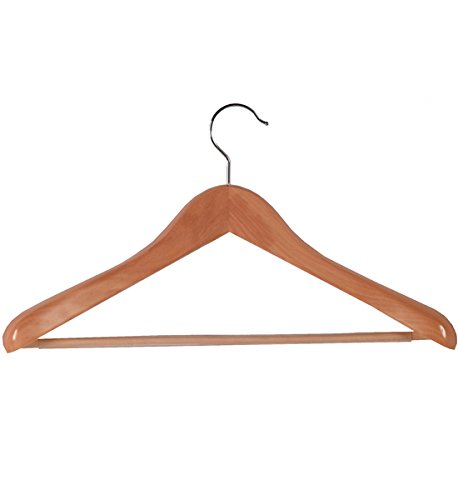 - Richards Homewares Euro Deluxe Natural Wood Suit Hanger with Ribbed Bar