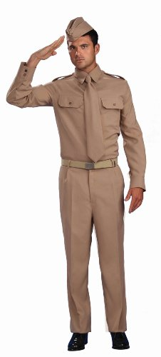 [Forum Novelties Men's Combat Heroes Ww2 Private Soldier Costume, Khaki, Standard] (Hero Costumes For Men)