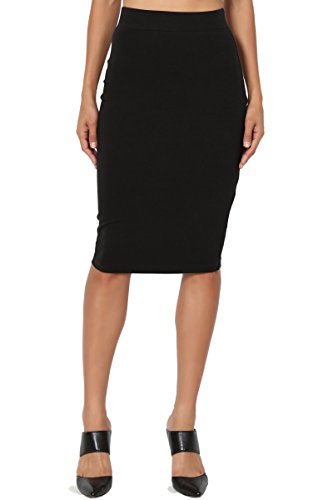 (TheMogan Women's Stretch Cotton Elastic High Waist Pencil Midi Skirt Black)