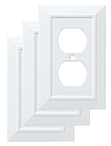 (Franklin Brass W35242V-PW-C Classic Architecture Single Duplex Wall Plate/Switch Plate/Cover (3 Pack), White)