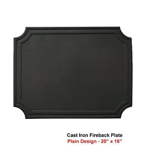 Simond Store 20 x 16 Inch Cast Iron Black Fireback Plates for Fireplace - 1 Piece