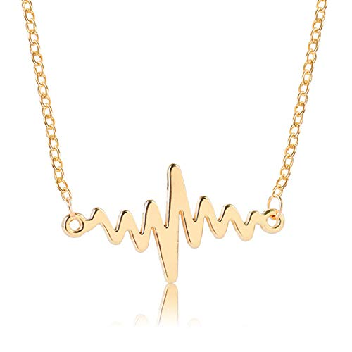 Unique Hollow ECG Heart Necklace Wild Short