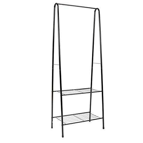 Homebi Garment Rack Metal Clothing Rack Coat Organizer Laundry Closet Storage Entrway Shelving Unit with Hanger and 2-Tier Durable Shelf for Shoes Clothes Storage in Black, 24.0
