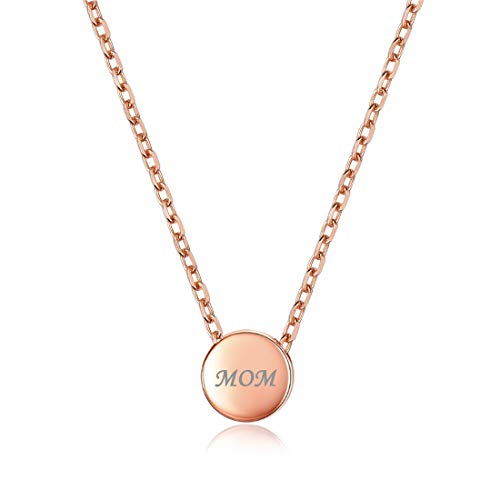 Personalized Dot Necklace Round Circle Pendant, Rose Gold Custom Couple/Lover Name Engravable Pendant Necklace for Women Girls ()
