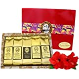 Kona Hawaiian Coffee Gift Sampler for Mothers Day, Fathers Day, Birthdays, All Occasions, Our Platinum Collection of 5 Kona Blend Coffee Roasts, in Gift Box, Ground Coffee, Brews 60 Cups