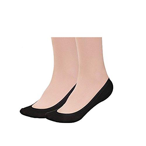 KEALLI Women's No Show Liner Non Slip Nylon Hidden Socks(4 Pairs)(4Black,9-11)