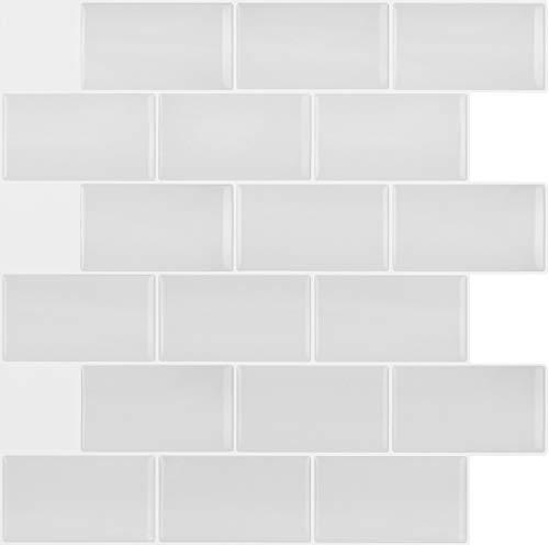 Peel & Stick 3D Vinyl Mosaic White Subway Tile for Kitchen and Bathroom Back Splash Border. Set of 4 Tile Sheets. 2.78 sf. WM-144C ()