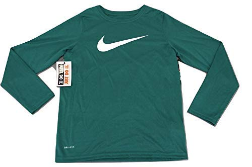 (Nike Boy's Dry Training Long Sleeve T Shirt (S, Green/White))