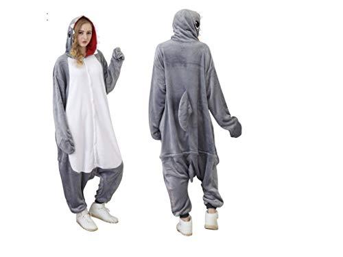Jammies for Parties Animal Pajamas for Adult Unisex Cosplay Costume Plush One Piece(Grey Shark,Regular) -