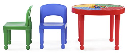 Tot Tutors Kids 2-in-1 Plastic LEGO-Compatible Activity Table and 2 Chairs Set, Primary Colors by Tot Tutors (Image #4)