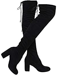 c320005abc3 Women's Thigh High Boots Stretchy Over The Knee Chunky Block Heel Boots
