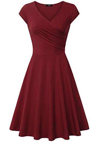 Lotusmile Dress for Women, A-Line Curve Flared Knee Length Plus Size Dress,XX-Large Wine Red from Lotusmile