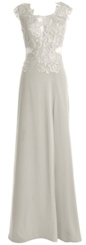 MACloth Women Cap Sleeve Prom Gown Maxi Wedding Party Formal Dress with Slit Marfil