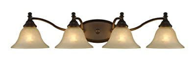 """Chloe Lighting CH21003RB34-BL4 """"Zoey"""" Transitional 4 Light Rubbed Bronze Bath Vanity Wall Fixture White Alabaster Glass 34"""" Wide"""