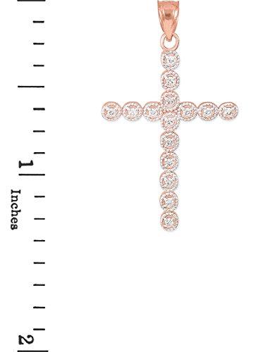Petits Merveilles D'amour - Pendentif - 10 ct 471/1000 Or Rose Diamond Eternity Cercle Pendentif Croix