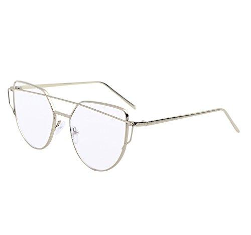 YANQIUYU New Fashion Cute Fake Cat Eye Clear Lens Glasses Non Prescription Eyeglass Frames for Women (Silver Frame, - Frame Glasses Korean