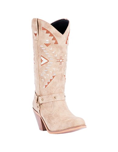 Dingo Womens Tan Fashion Boots Faux Leather Cowboy Boots Round Toe 10 M (Cowboy Round Boots Tan)