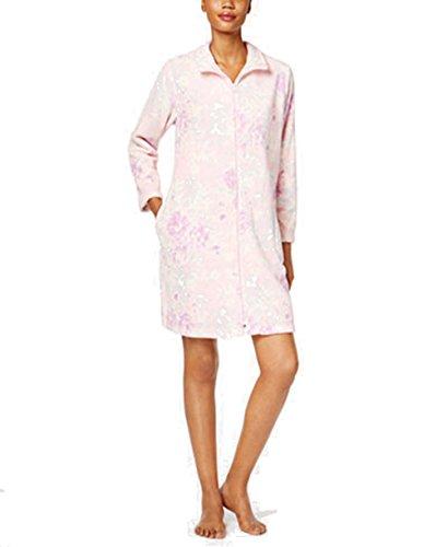 Miss Elaine Plush Zip-Front Robe 100% polyester (M, - Zip Miss Front Elaine